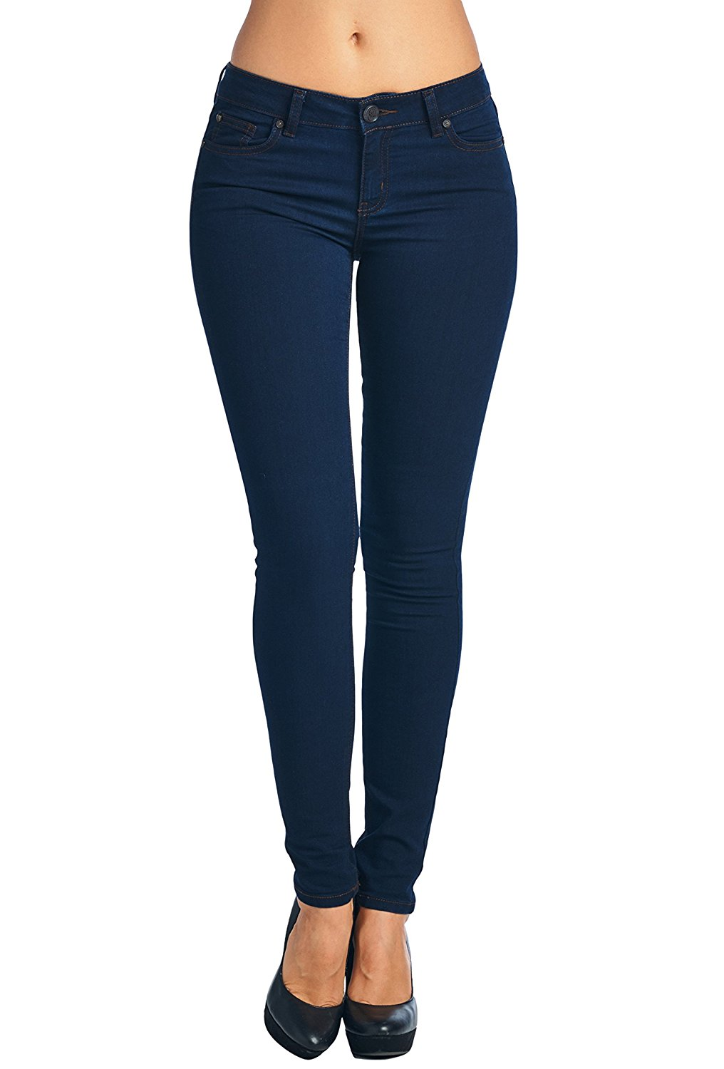 Vialumi Womens Juniors Solid Stretch Fit Five Pocket Skinny Jeans Sizes 0-17 at Amazon Women's Jeans store