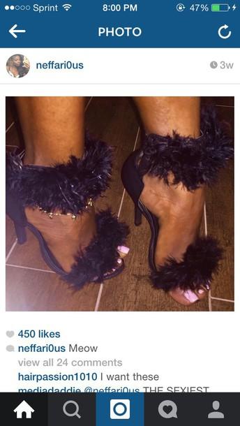 shoes heel fur