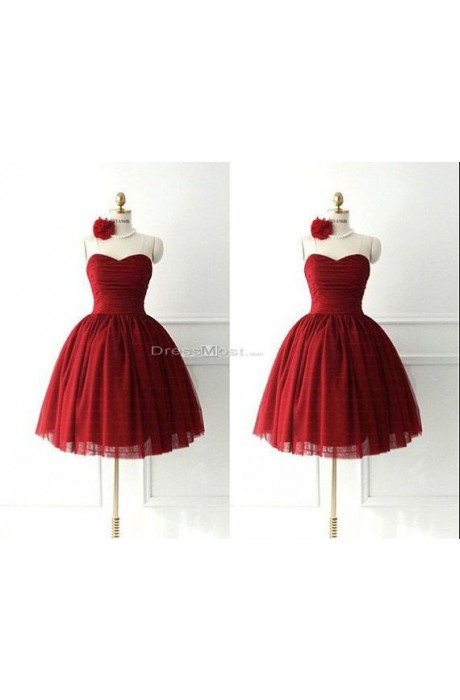 2015 red organza ruffles sleeveless prom dress