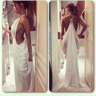 white dress flowing dresses grecian dress white backless prom dress