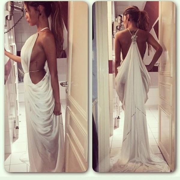 white dress white dress flowing dresses grecian dress white backless prom dress