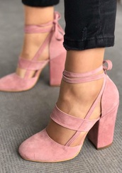 shoes,high heels,pink,straps,ballet,trendy,suede,elvia pudra,heels,strappy heels,girly,pink suede block heel pumps shoes c,elvia suede shoes,sandals,summer,pumps,nude,pink heels,pastel pink,pink shoes,hot,nude heels,lace up,buckles,cute,cute high heels,velvet shoes,pink high heels,block heels
