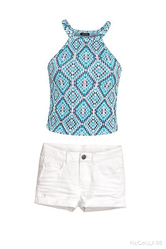 top tank top cute aztec love shorts fashion outfit style t-shirt