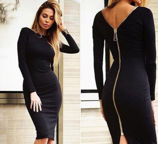 Buy Online 882d2 B9e57 Black Midi Bodycon Dress With Sleeves