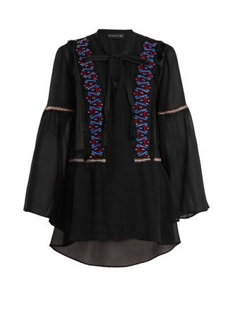 blouse sheer embellished silk black top