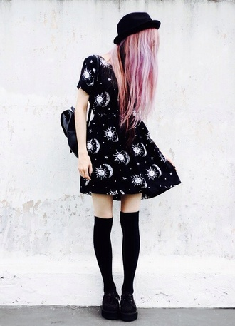dress socks hat hair accessories moon stars bag rucksack cute black dress black black boots sexy dress white pattern