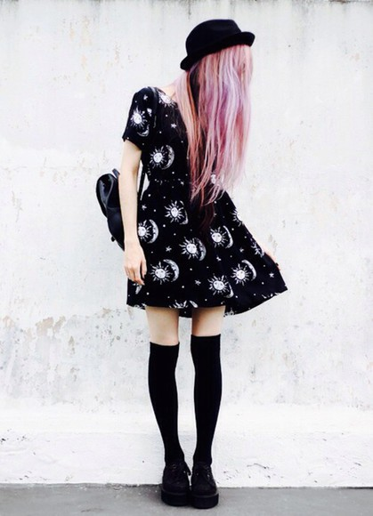 dress sexy dress black dress black white cute pattern socks hat hair accessories moon stars bag rucksack black boots