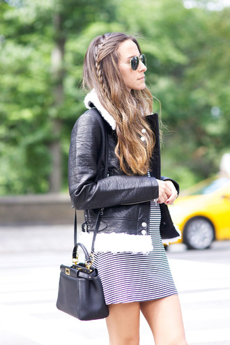 jacket nastygal coat leather shearling fall outfits style outfit blogger black biker jacket shearling jacket