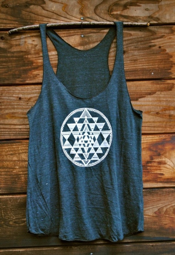 tank top blue top hipster style t-shirt gris shirt pattern circle tank top grey lovetank triangle