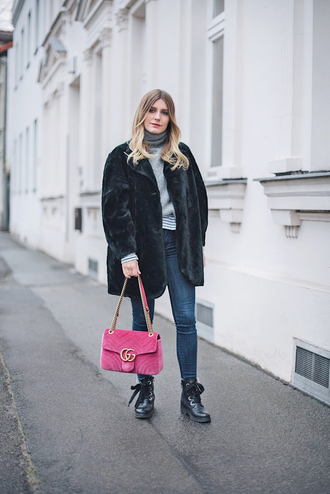 coat tumblr black coat fur coat faux fur coat bag pink bag denim jeans blue jeans boots biker boots top turtleneck
