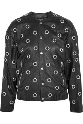 jacket bomber jacket embellished leather black
