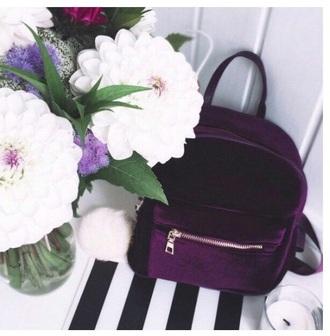 bag girly purple tumblr velvet backpack