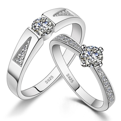 Cubic Zirconia Wedding Bands Set with Customized Engraving Personalized Couples Gifts | His Her Necklaces and Bracelets | Engraved Wedding Rings | Couples Clothing
