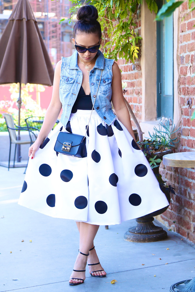 * MADE TO ORDER: Polka Dots Midi Skirt