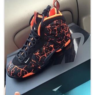 shoes nike black orange nike shoes high top sneakers shorts nike foams foamposites nike air nike sneakers kicks dope kicks nike foamposites lava cracked sneakers