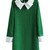 Street Green Cotton Lapel Long Sleeves Plain Dress - TideShe.com