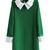Street Green Cotton Lapel Long Sleeves Plain Dress - TideShe.com