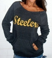 grey steelers sweatshirt,sweater,warm,cozy,trendy,black,fashion,style,fall outfits,logo,jumper,long sleeves,steelers,winter outfits,pullover,stylish,tomboy,grey,Stylish Scoop Collar Long Sleeve Letter Print Pocket Design Sweatshirt For Women,cool,casual,rose wholesale,dec,rose wholesale-dec,quote on it