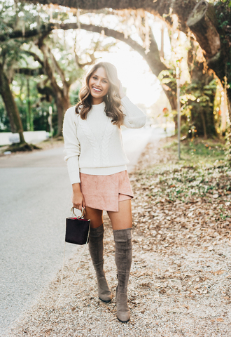hauteofftherack blogger jewels bag sweater shoes fall outfits white sweater mini skirt pink skirt boots grey boots over the knee boots