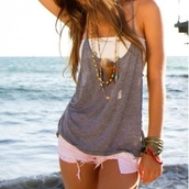 shirt,clothes,girly,tank top,top,singlet,grey,white,shorts,pink,white shorts,white bandeau top,grey drapey tank,bandeau top,grey t-shirt,bandeau,jewels,blouse,fashion,dress,bones,heels,ankle boots,high heel,celebrity heels,t-shirt,cute,cu,grey tank top,white bandue,beach,hot,summer,feathers,loose,baggy,layered,gry,necklace,accessories,gray tanktop,white top,blue,summer top,summer outfits,teenagers