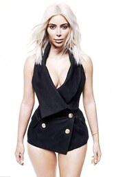 top,black,kim kardashian,blazer,balmain