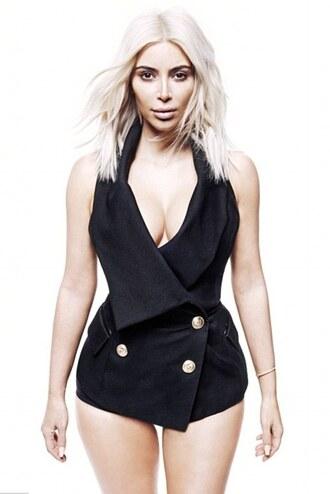 top black kim kardashian blazer balmain