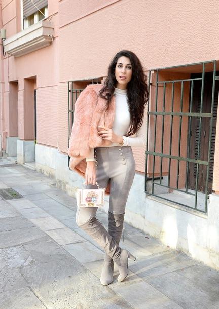m&m fashion bites blogger coat pants shoes bag jewels faux fur jacket pink fur jacket grey boots boots