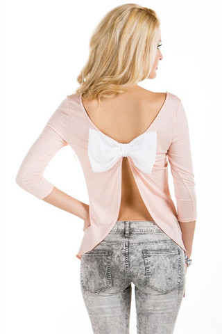 Sole Mio French Terry Top With Back Cutout Bow | Boutique Fashion Outlet