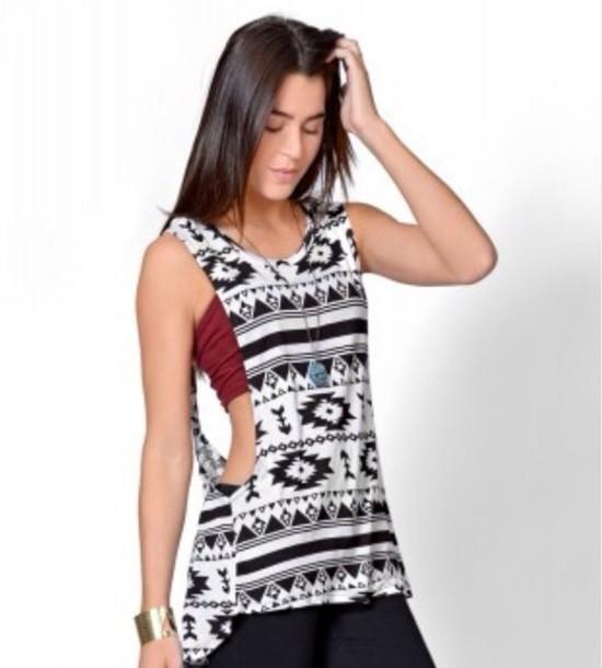 shirt aztec white black muscle tee tank top bandeau burgundy