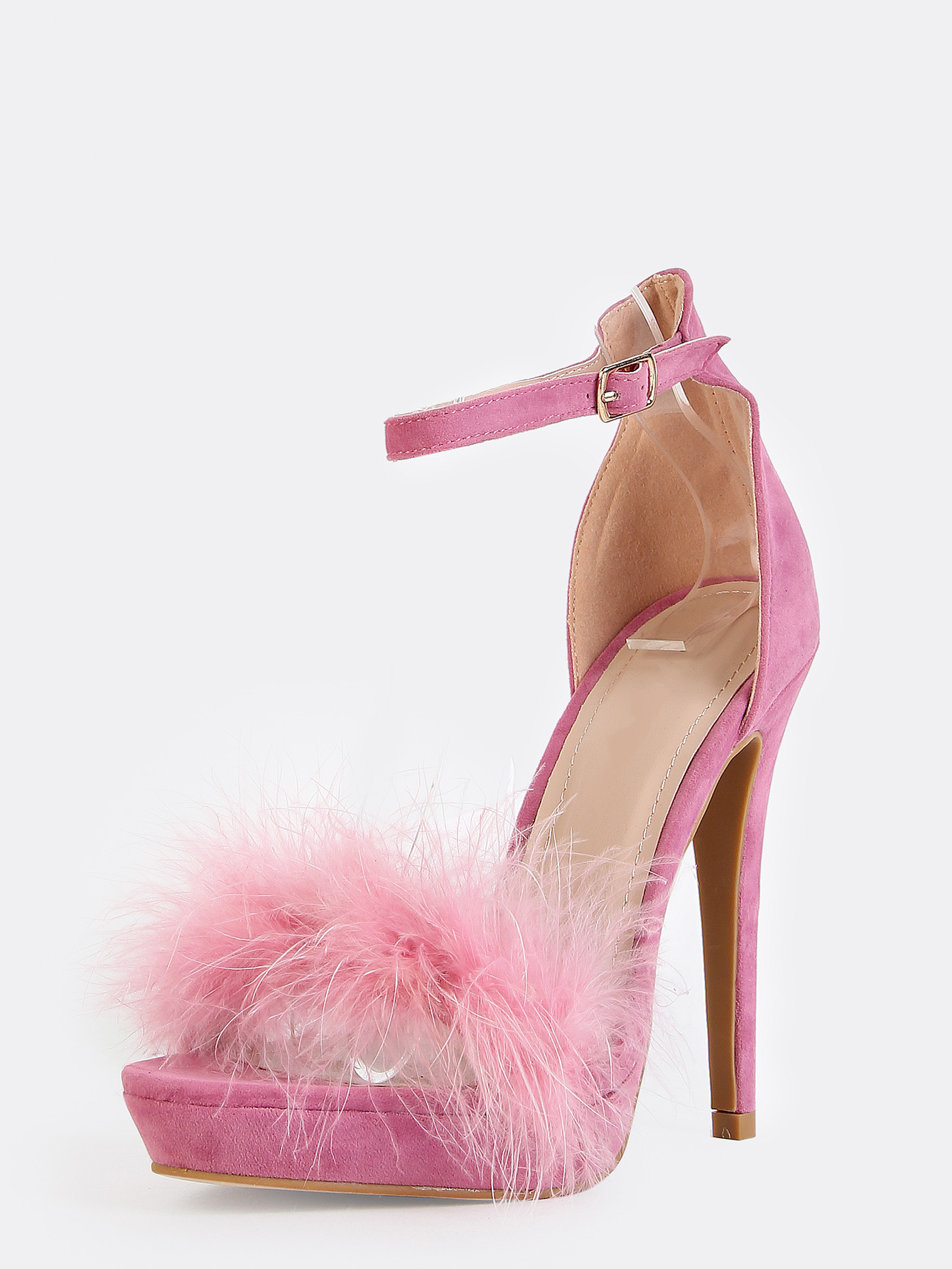 Feather Ankle Strap Heels MAUVE -SheIn(Sheinside)