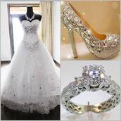 dress,shoes,sparkle,white,wedding,lovely