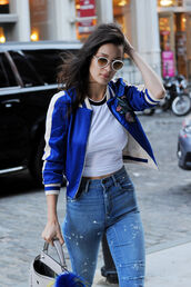 jacket,bella hadid,satin bomber,bomber jacket,blue jacket,jeans,blue jeans,top,crop tops,white crop tops,bag,white bag,fur keychain,sunglasses,white sunglasses,celebrity style