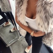 cardigan,wild,hot,sexy``,fur vest,schoes,shoes,jeans