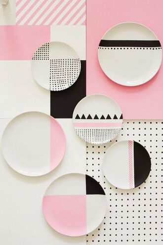 home accessory pink dinnerware plate colorblock