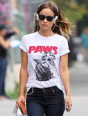shirt,paws,paws tee,jaws,jaws shirt,cats,kitty cat,gold,shark,jeans,olivia wilde,grumpy cat,alex and chloe,alex & chloe