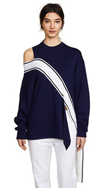 Monse sweater navy white