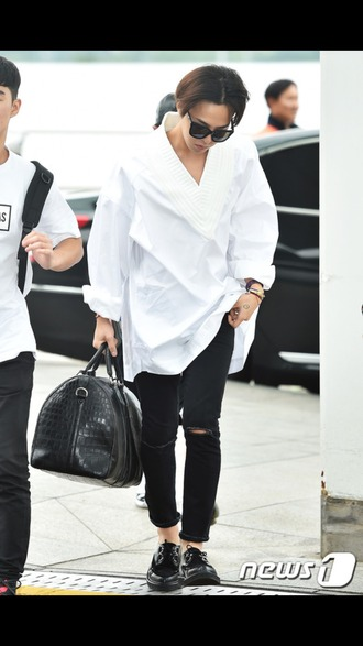 shirt gd g.d bigbang gdragon g dragon white shirt white k-pop kpop korean style collar