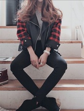 jacket,caro,flannel,leather,cool,swag,girl,grunge,edgy,retro,style,swaghiphop,ove,love,young,youth,clothes,brand,line