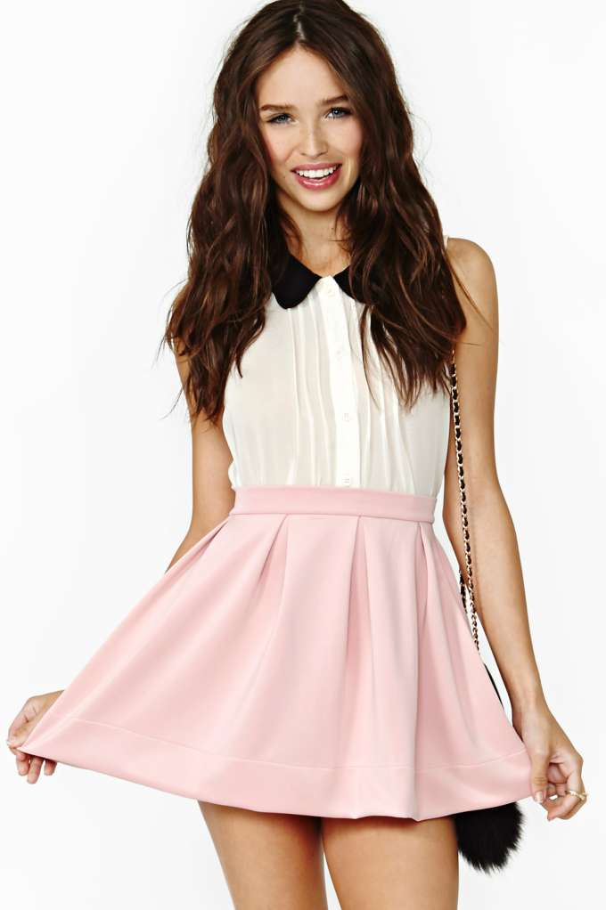 Scuba Skater Skirt - Blush in  Clothes at Nasty Gal