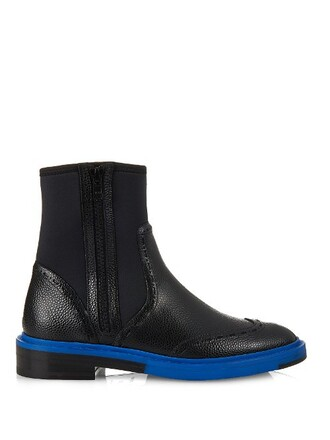 boots chelsea boots leather neoprene black shoes