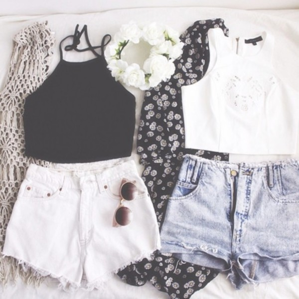 shirt jacket shorts tank top top indie sunglasses hat cardigan hair accessory ❤️❤️❤️❤️❤️❤️❤️❤️❤️ cute outfits blouse summer black crop top white crop tops