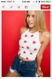 watermelon shirt,watermelon print,white,cute,summer,shirt,top,halter top,strawberry