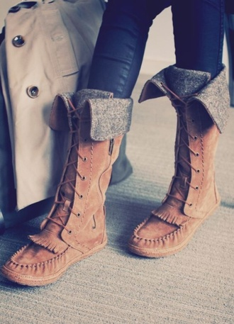 shoes boots moccasins moccasin boots brown leather boots fall outfits