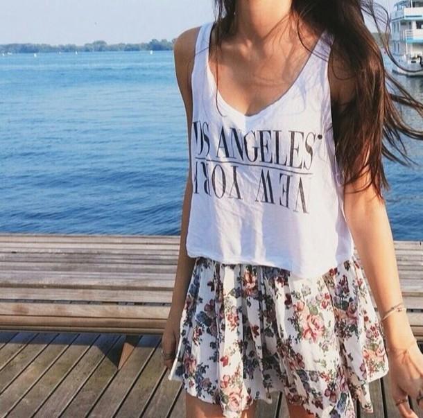 tank top floral skirt