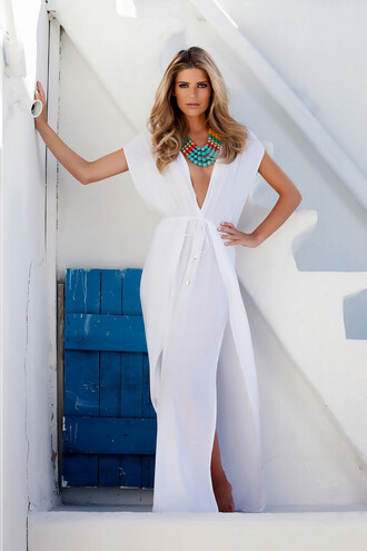 dress maxi caftan cover up white jewels jewelry necklace statement necklace