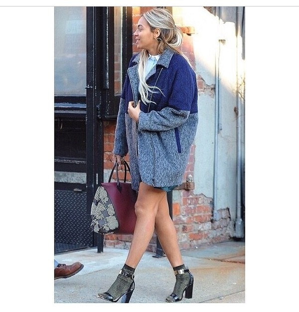 coat style handbag fashion cute winter outfits warm beyonce