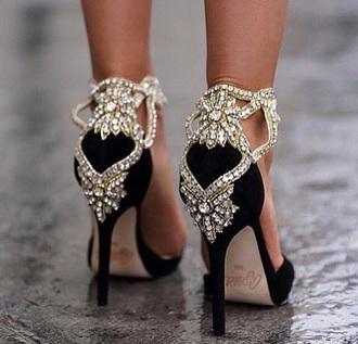 black silver prom heels black heels