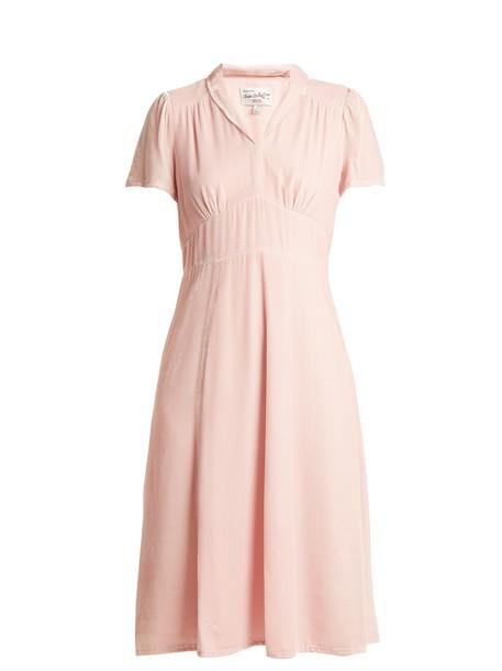 hvn dress velvet dress short velvet pink
