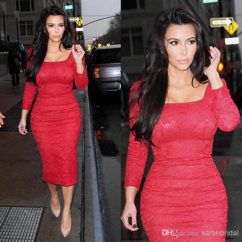 Discount vestidos formales 2014 tea length kim kardashian red online with $100.68/piece