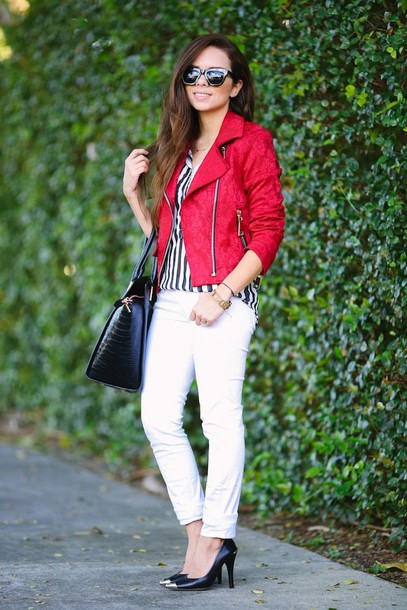 nany's klozet jacket jeans blouse sunglasses shoes bag